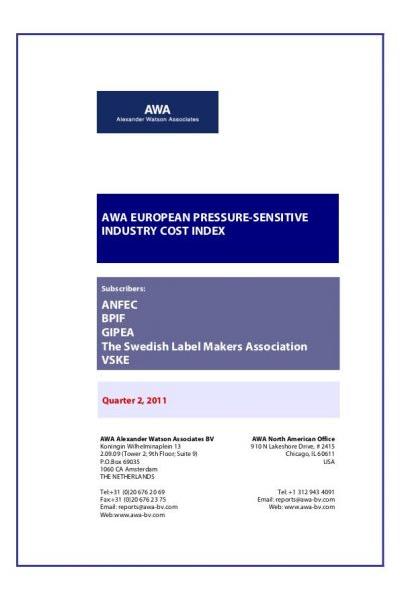 Label Materials Cost Index Q2 2011