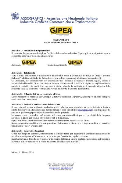 Regolamento Marchio GIPEA