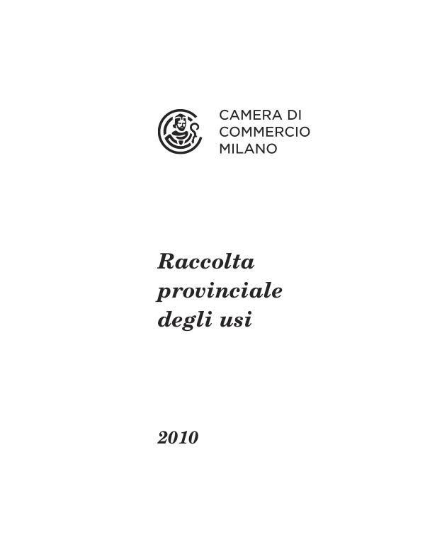 Raccolta Usi e Consuetudini 2010
